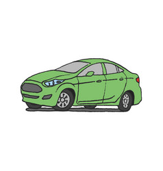 green car doodle vector image vector image