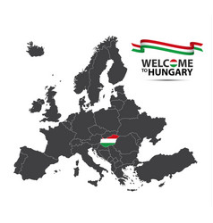map of europe with the state of hungary vector image vector image