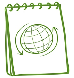 A green notebook with a drawing of a globe at the vector image vector image