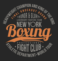 boxing fight club typography for t-shirt print vector image