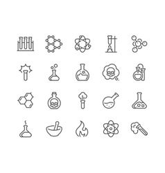 Line Chemical Icons vector image vector image