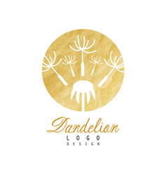 luxury logo design of dandelion with flying fluffy vector image vector image