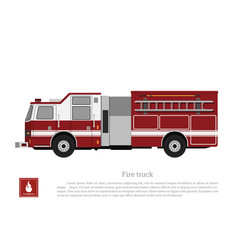 red fire truck in a flat style vector image vector image