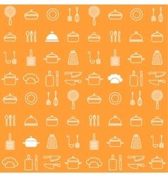 Seamless line kitchen icons orange background vector image