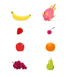 set of flat fruits isolated white background vector image vector image