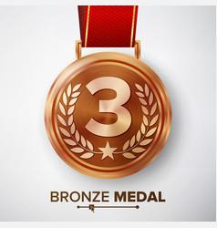 bronze medal metal realistic third vector image vector image