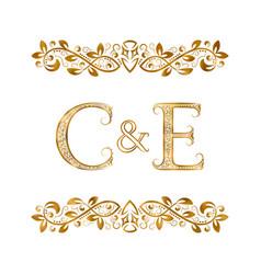 C and e vintage initials logo symbol letters c vector