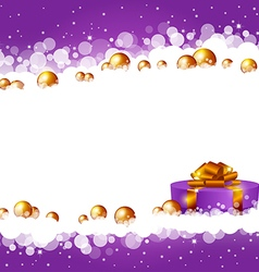 Christmas violet background with a gift box vector image