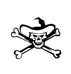 cowboy pirate skull cross bones retro vector image vector image