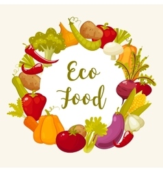 Eco food typographic poster with round decorative vector