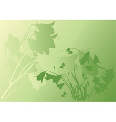 green background with bells vector image