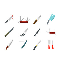 knife icon set flat style vector image
