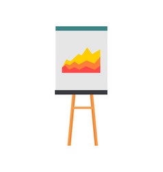 projection screen with a graph icon vector image