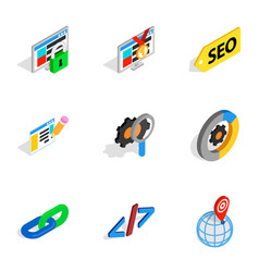 search information and optimization icons vector image vector image