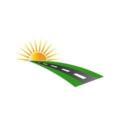 sunset road pavement logo vector image vector image