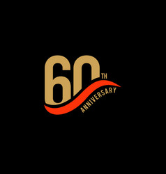 60 year anniversary gold template design vector