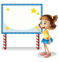 A child near the empty board with series lights vector image