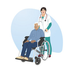 A girl nurse rolls wheelchair with patient vector