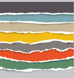 a set torn pieces paper in many colors used vector image