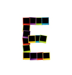 Alphabet E with colorful polaroids vector image vector image