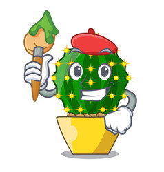 artist mammillaria cactus planted in a cartoon pot vector image