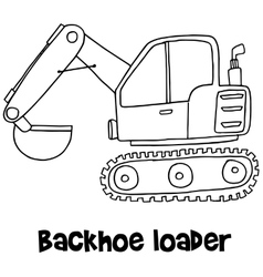 Backhoe loader with hand draw vector