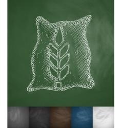 Bag of grain icon vector