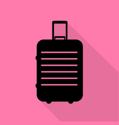 baggage sign black icon with flat vector image