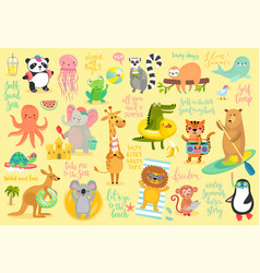 Beach animals hand drawn style summer set vector