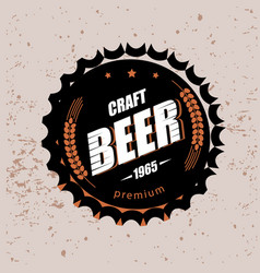 beer cap stylized symbol emblem brewery design vector image