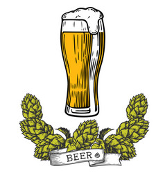 Beer glass hop color vector