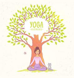 big tree yoga vector image
