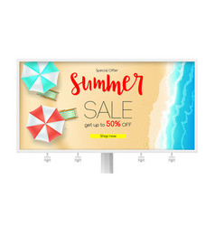 Billboard with sales action summer offer get up vector