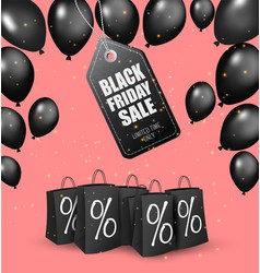 black friday sale background with shiny balloons vector image