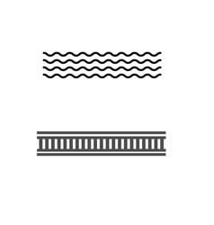 black simple flat sea and railway road sign vector image
