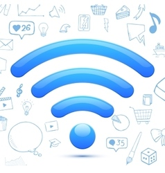 Blue wi-fi sign abstract vector