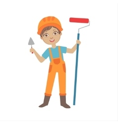 Boy with a trowel and painting roll kid dressed vector