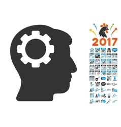 Brain Gear Icon With 2017 Year Bonus Pictograms vector