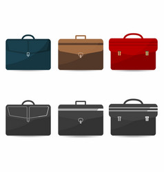 Briefcases set with shadows coloful and vector