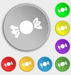 Candy icon sign symbol on eight flat buttons vector