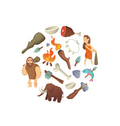 Cartoon cavemen in circle shape vector