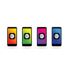 Cell mobile phone battery charging colorful icons vector