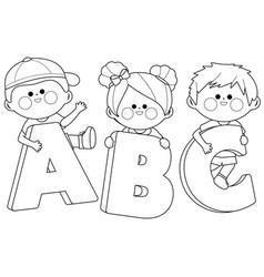 Children holding letters vector