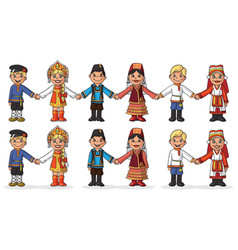 Children in national costumes hold hands vector