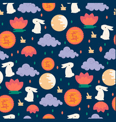 chinese mid autumn festival seamless pattern vector image