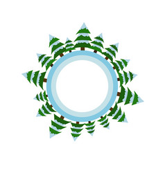 circle with christmas trees and snow vector image