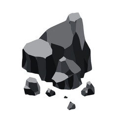 Coal black mineral resources pieces fossil vector