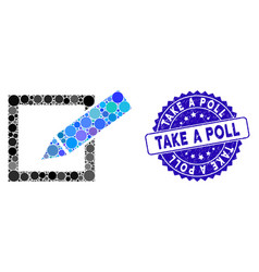 Collage take a poll icon with distress take a poll vector