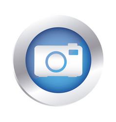 Color circular emblem with analog camera icon vector