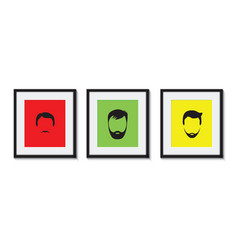 colourful set of bearded men in frames vector image